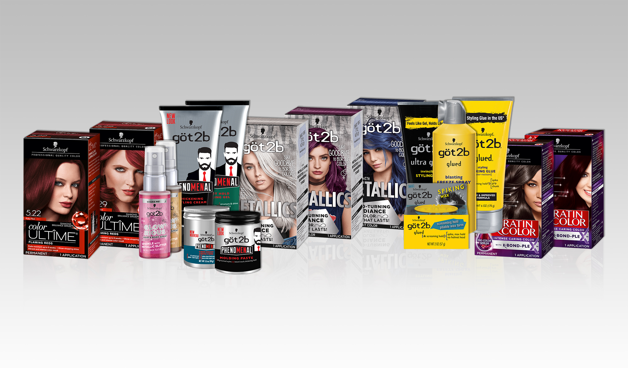 Schwarzkopf® retail hair care products Color Ultîme, göt2b and Keratin Color