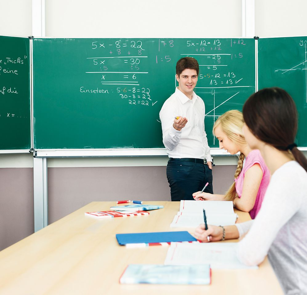 Teach First volunteer teaching a school in Germany