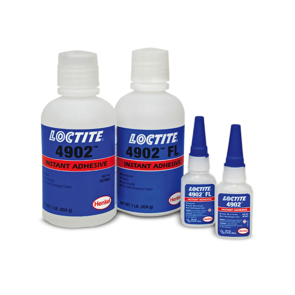 LOCTITE 4902 and 4902FL flexible instant adhesives are designed for the assembly of flexible medical devices and provide high-strength bonds in seconds.