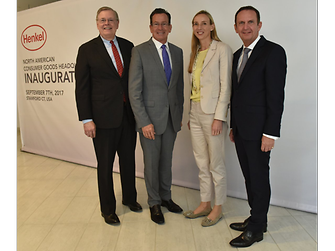 At the inauguration (from left): David R. Martin, Mayor of Stamford, CT; Connecticut's Governor Dannel Malloy; Dr. Simone Bagel-Trah, Chairwoman of Henkel's Supervisory Board and the Shareholder's Committee; and Henkel CEO Hans Van Bylen.