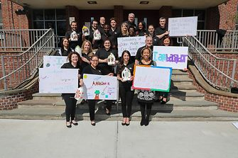 Henkel Sustainability Ambassadors from Stamford and Trumbull, Conn. in front of Stamford's Dolan Middle School following a successful afternoon of interactive sustainability education.
