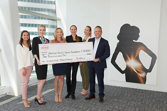 Vanessa Marques of Henkel; Danae Johnson and Kara Causey of National Breast Cancer Foundation, Xenia Barth, Susanne Wiegand, and Ed Vlacich of Henkel announce a $10,000 donation to kick off the partnership between the organizations as part of the company's Schwarzkopf Million Chances initiative.
