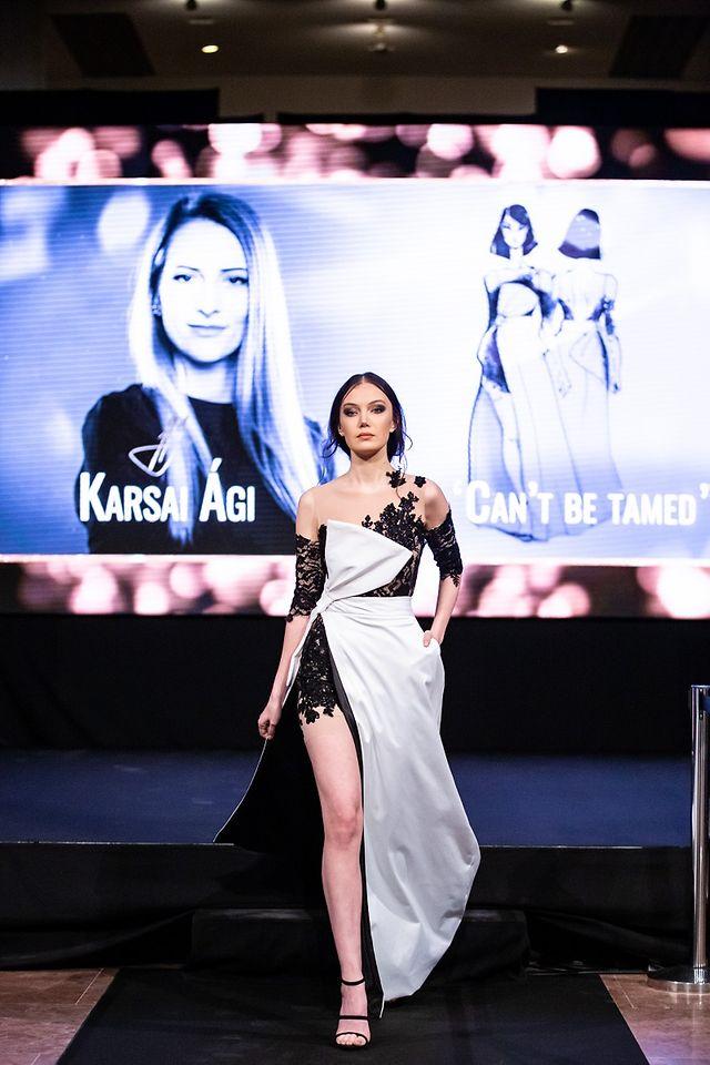 A nyertes divattervező Karsai Ági ruhája