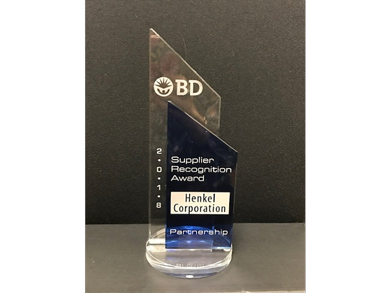 Becton Dickinson, a medical device company, recently awarded Henkel Adhesive Technologies with its 2018 Partnership Supplier of the Year award.